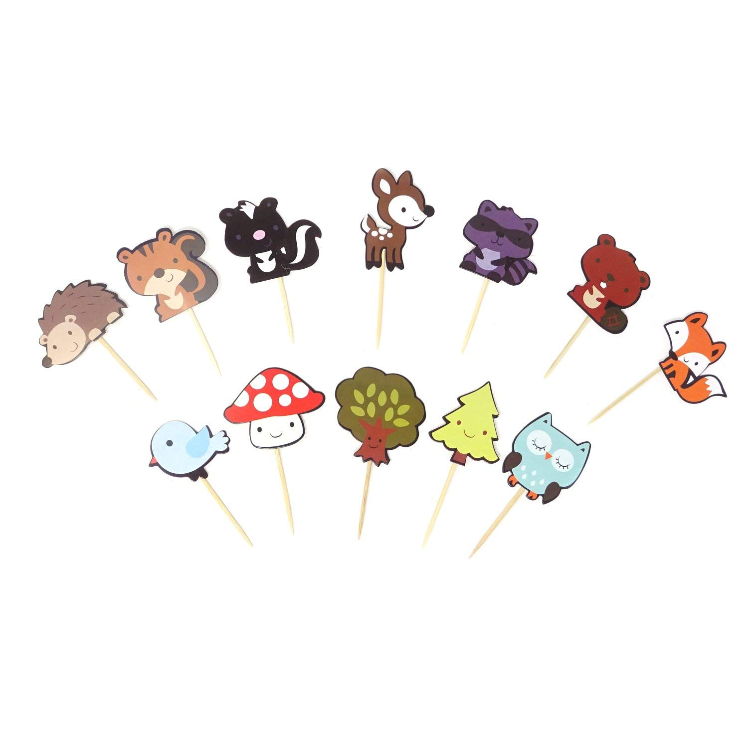 Honbay 36PCS Cute Woodland Creatures Theme Dessert Muffin Cake Cupcake Toppers Picks Forest Animal Friends Cake Decoration for Kids Woodland Theme Party, Baby Shower or Birthday Party Decoration