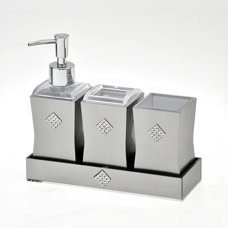 Classy 4pcs Diamond Sliver Hotel Bathroom Accessories Set