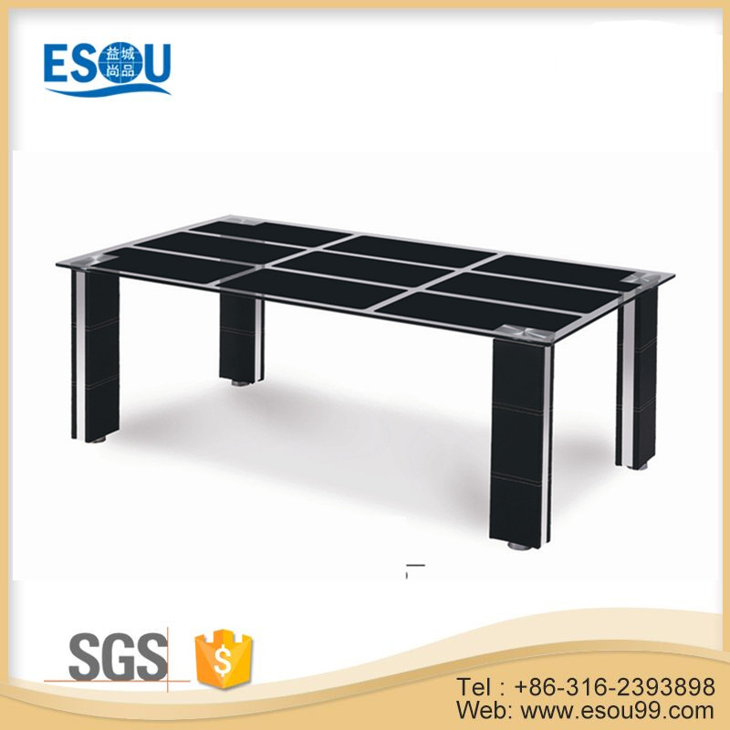 Modern top tempered glass black painting center coffee table