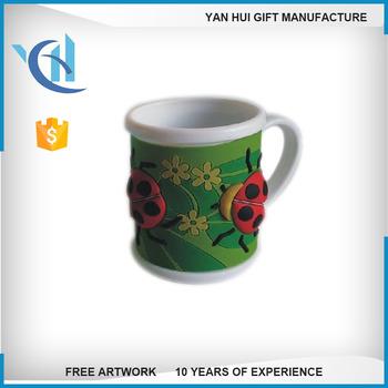 Tasse Fantaisie fantaisie fleur 3d pvc en caoutchouc tasse tasses pour les enfants