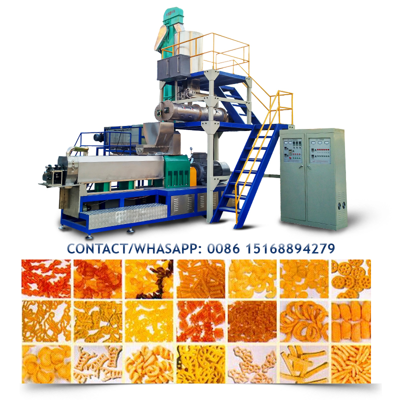 Puffs snacks food making machinery for cheese <strong>corn</strong> chips production line