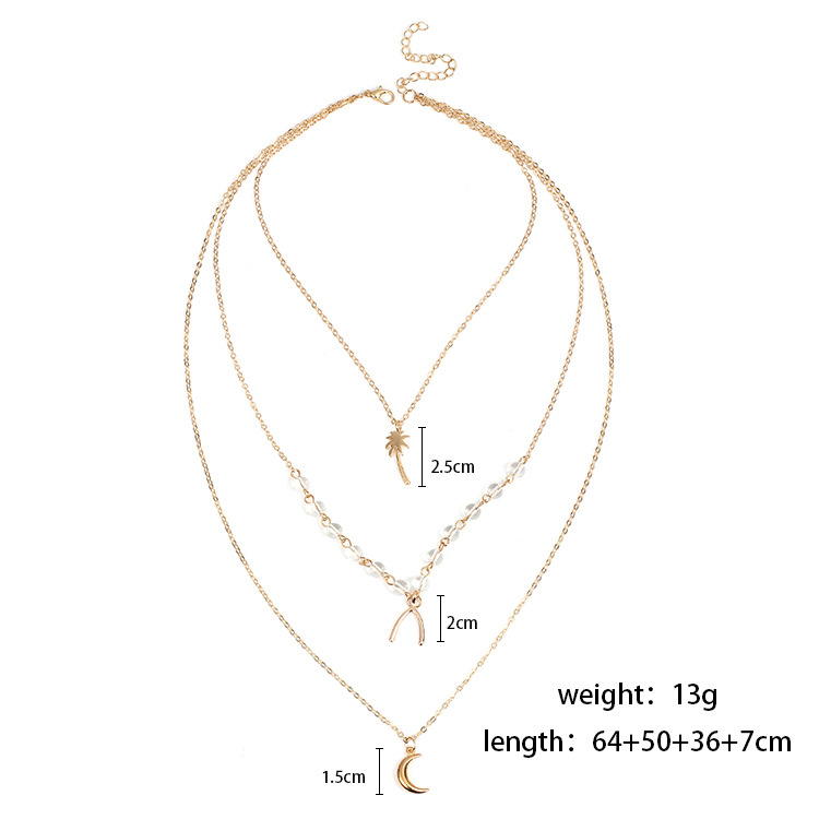 Personality multi-layered crescent moon crystal coconut pendant ladies necklace
