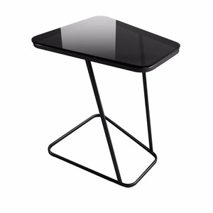 2018 modern design End Table, Creatwo C-Shape Snack Table Computer Desk Sofa Couch with Tempered Glass Panel, Black