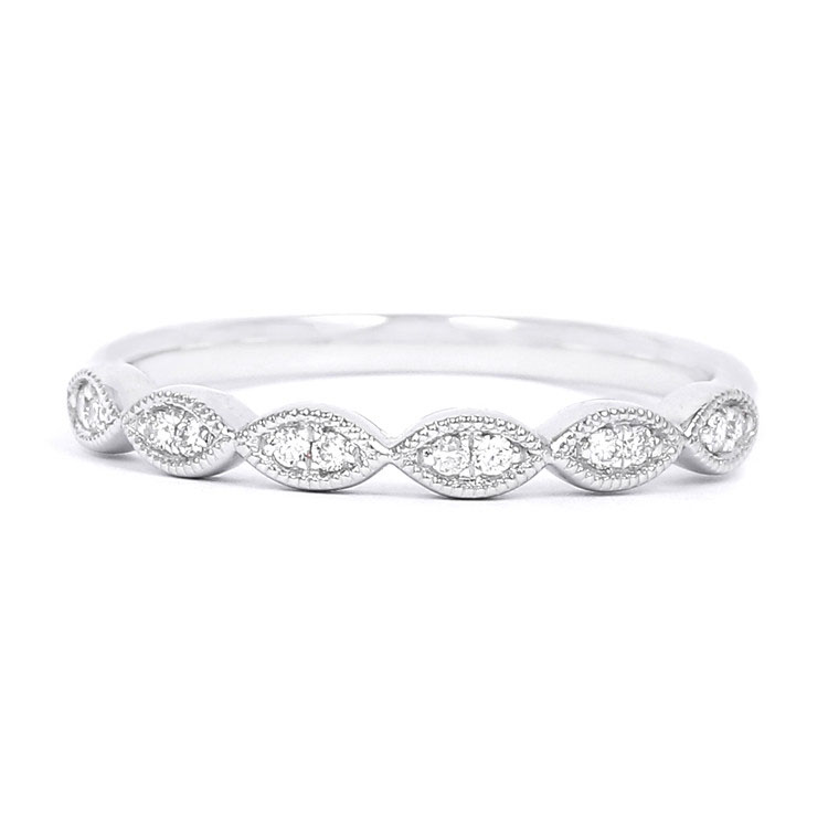 Accessoire Fancy Gift Half Eternity Ring 18K White Gold Real Diamond Anniversary Stapelbaar Ring