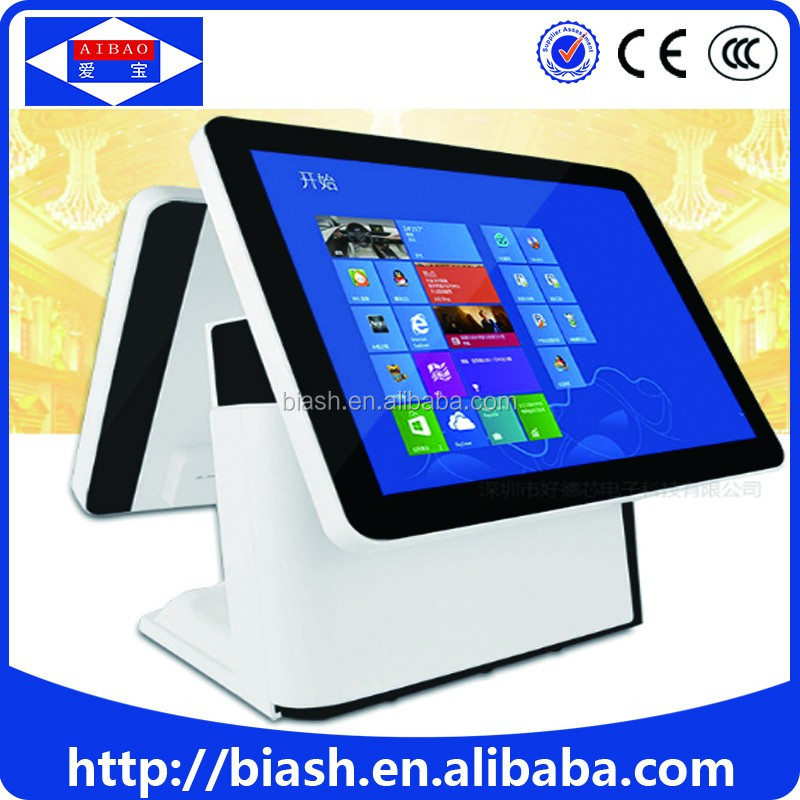 dual monitor touch screen pos hardware for restaurant