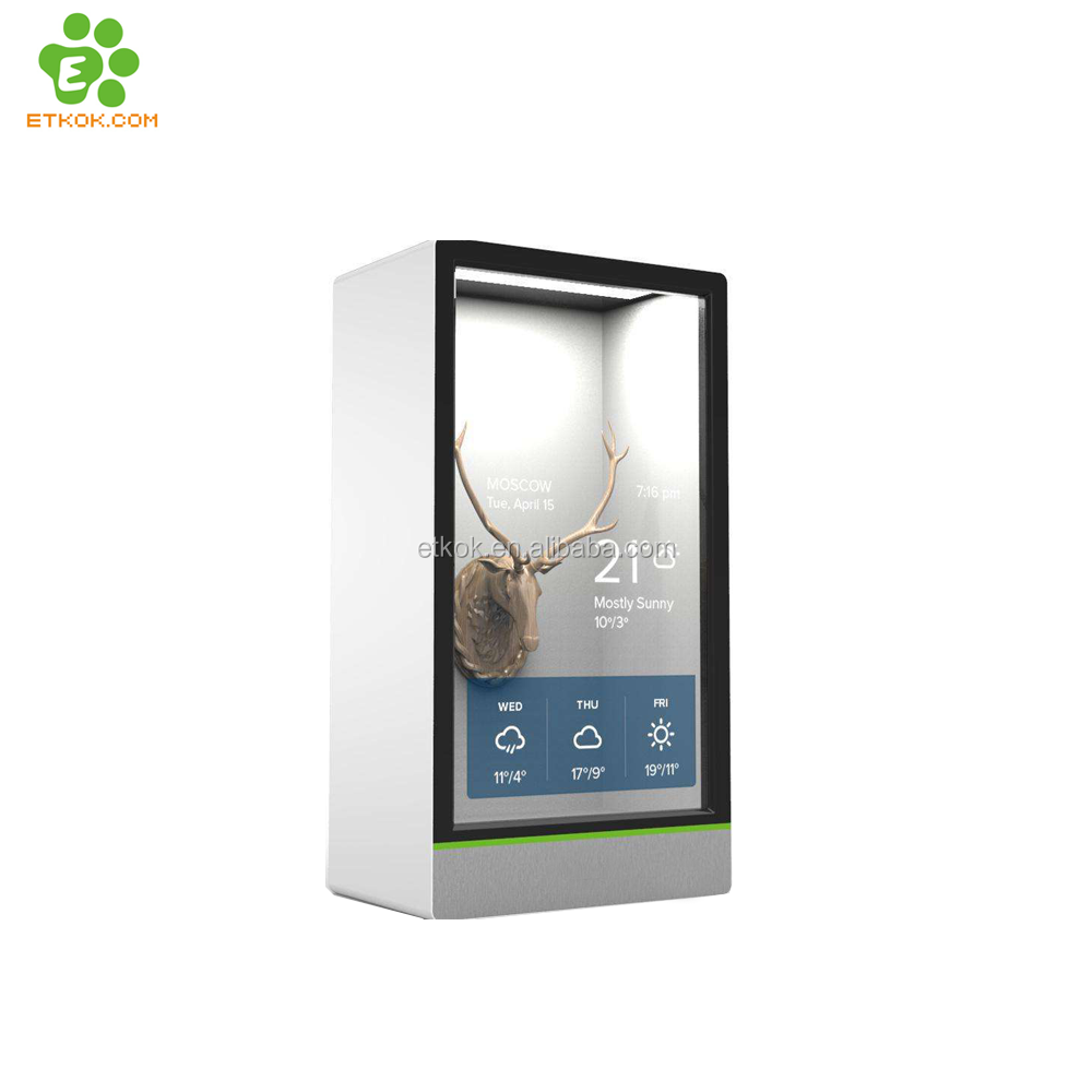 "21.5""43''55''65'' transparent advertising display box , flexible transparent lcd advertising display"