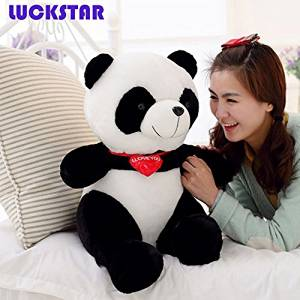 LUCKSTAR(TM) 40cm Black White With Red Fortune Panda Bear Stuffed Animal Plush Toy Black White Plush Toy Cute Big Head Panda Large Pillow Cushion Design Kids Toy Gift affordable delight for any bear lover