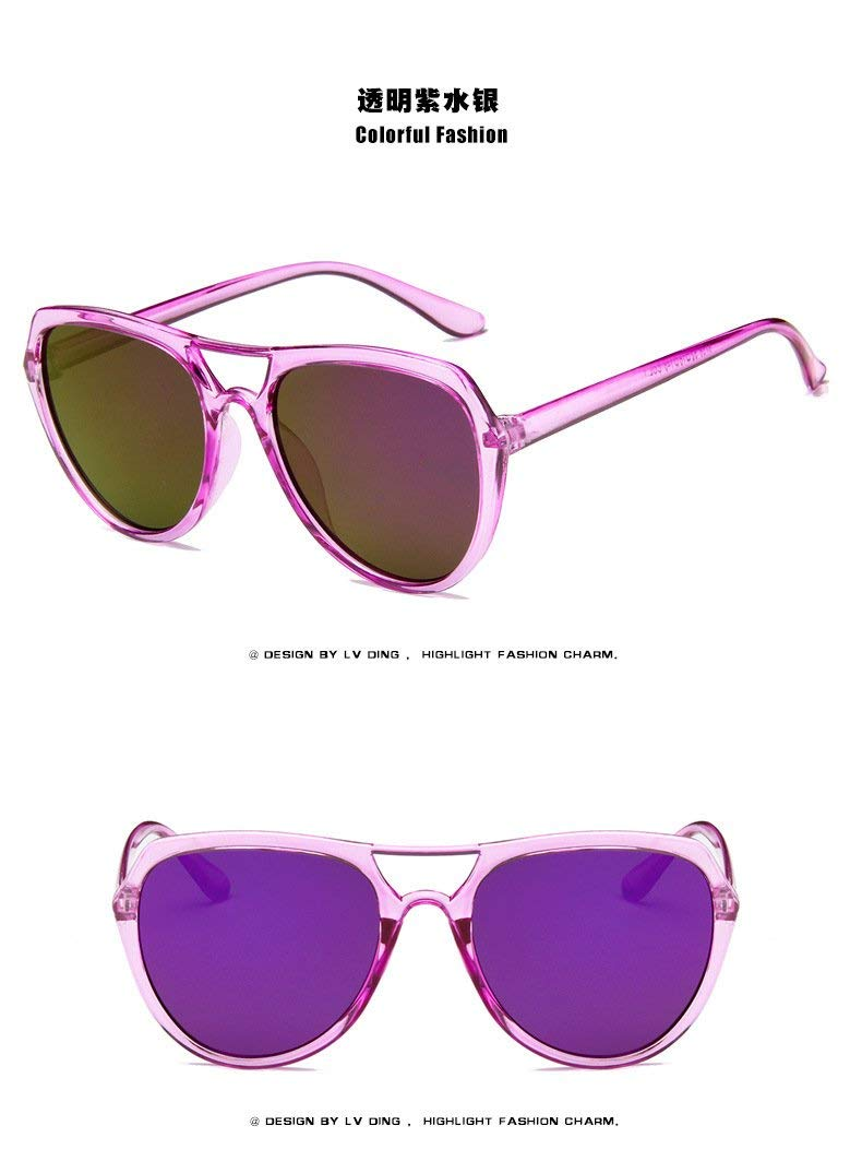 JEGOAU Colorful Unique Retro Sunglasses Fashion Sunglasses Reflective Sunglasses Transparent Frame (Transparent Purple