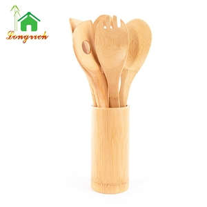Bamboo Wood Utensil 5 Set Kitchen Cooking Spatula Tools Spoon set with holder
