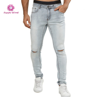 Men denim jeans with ripped and holes zipper light blue low waist sliml fit skinny pants