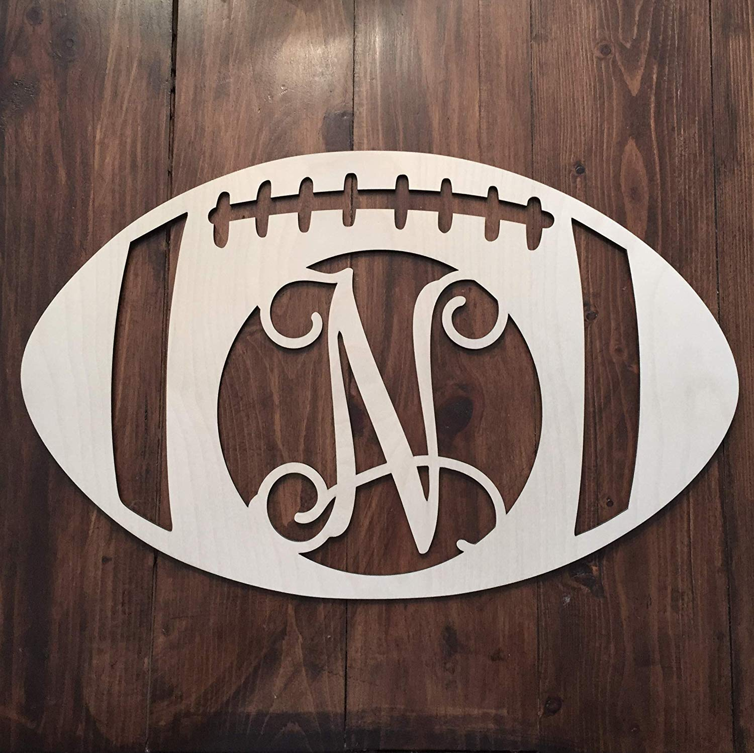 Unfinished Wood Football Monogram Hanger - Fall Football Monogram - Football Initial Wreath - Sports Wall Hanger - Football Wall Hanging