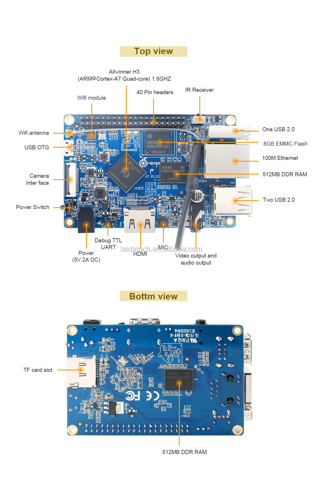 Taidacent H3 Quad-core A7 256 MB Embedded Single Board Computer Orange Pi Zero Computer Single Board