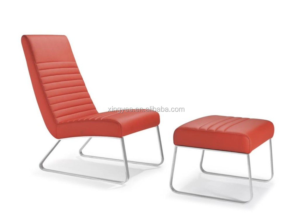 Modern Whole Lounge Furniture Living Armless Chair With Footrest Stainless Steel Genuine Leather