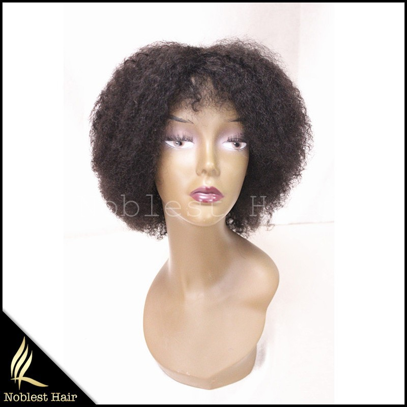 Promotion Afro kinky curly human hair full glueless cap wig natural virgin hair machine made capless wigs for black women