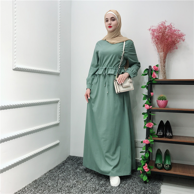 2019 Best Customize Design Best Quality Thick Jersey Green Abaya EID