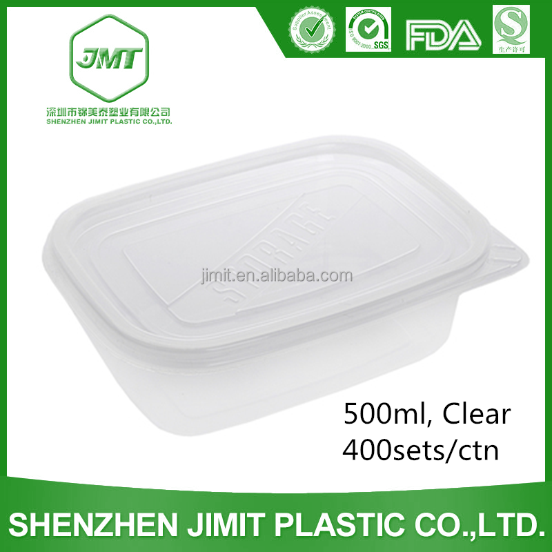 High Quality Microwavable 500ml Clear PP Storage Plastic Box Made In China