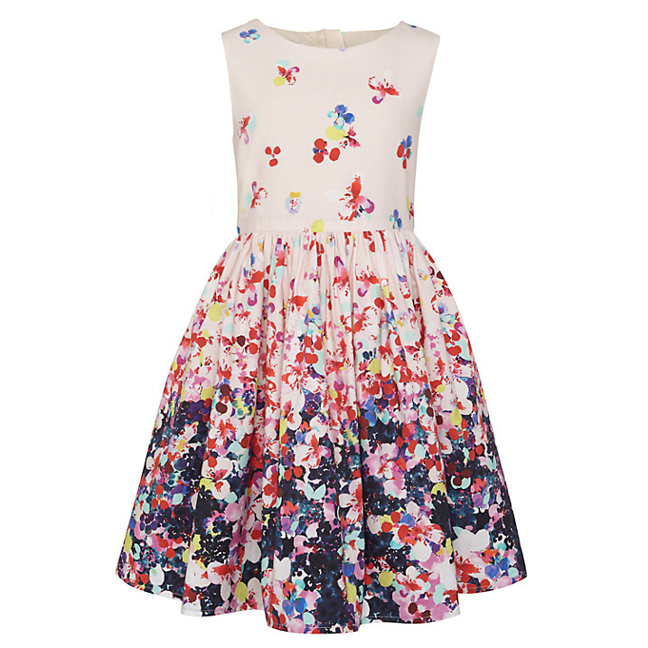 Children girls digital print border dress custom prom for Childrens dress fabric