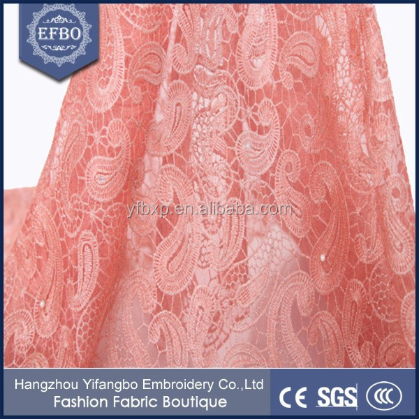 2016 Unique Peach Net Embroidery Fabric Design Beaded And Pearl ...