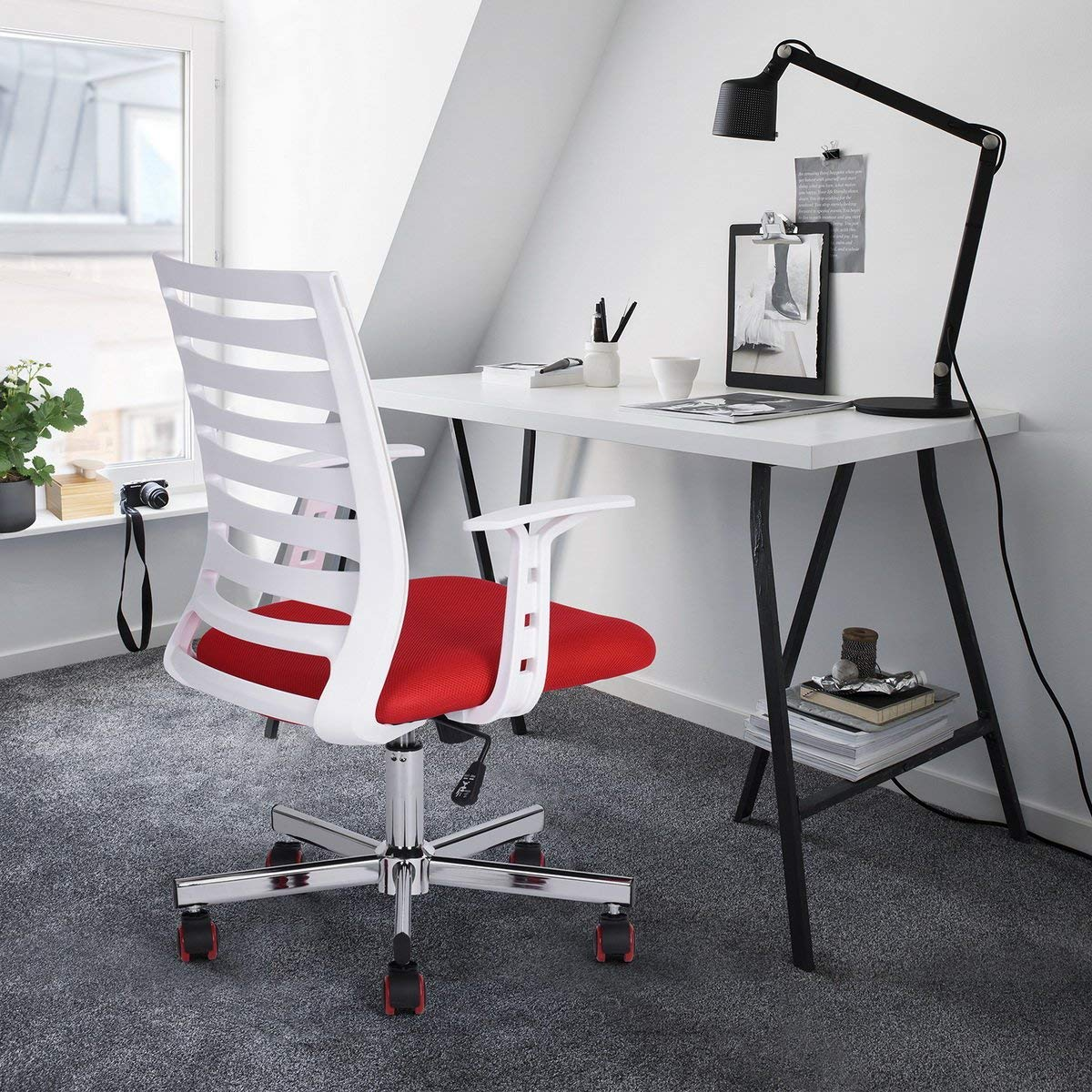 Molded Chair with Adjustable Height & Wheels Home Office Chairs Swivel Adjustable Mid-Back Special Design Back with Tilt Lumbar Support Red/White