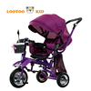 Adjustable seat 3 wheel colorful little tricycle with cheap price / children metal frame tricycle with 360 seat