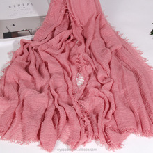 muslim hot selling wrinkle TR cotton scarf hijab plain wide long shawl