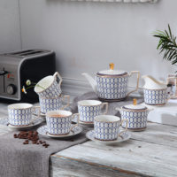 Hot Selling European Magnolia Flower Gold Line Ceramic Tea Set OEM Design Porcelain Coffee Cup And Saucer Set