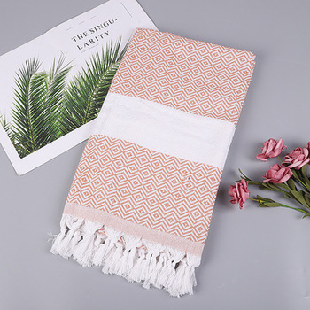China Product Pure Color Fringe  Cotton Hand Towel Turkish Towel