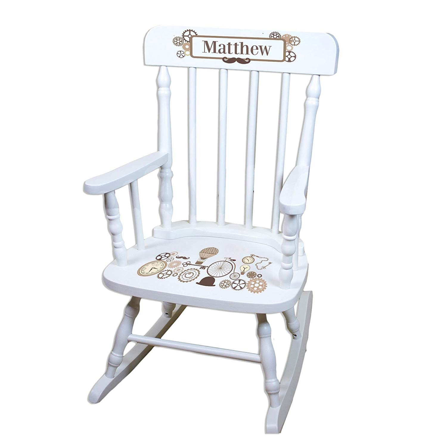 MyBambino Personalized Steampunk White Wooden Childrens Rocking Chair