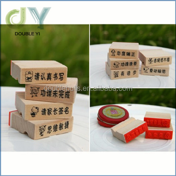 Top quality popular cute kids stamp set / custom wooden stamp
