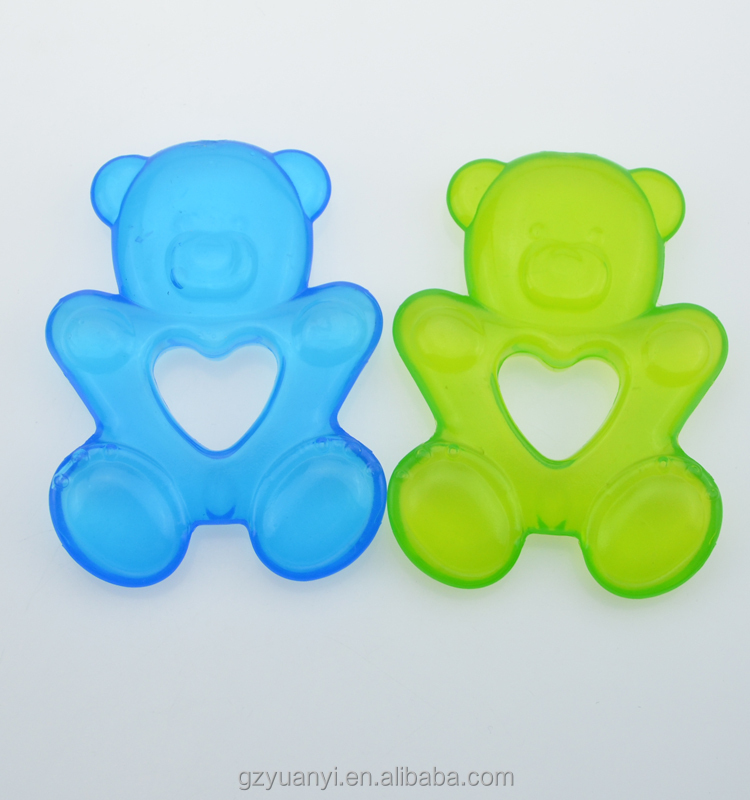 animal shape EVA water filled baby teether with rings for baby