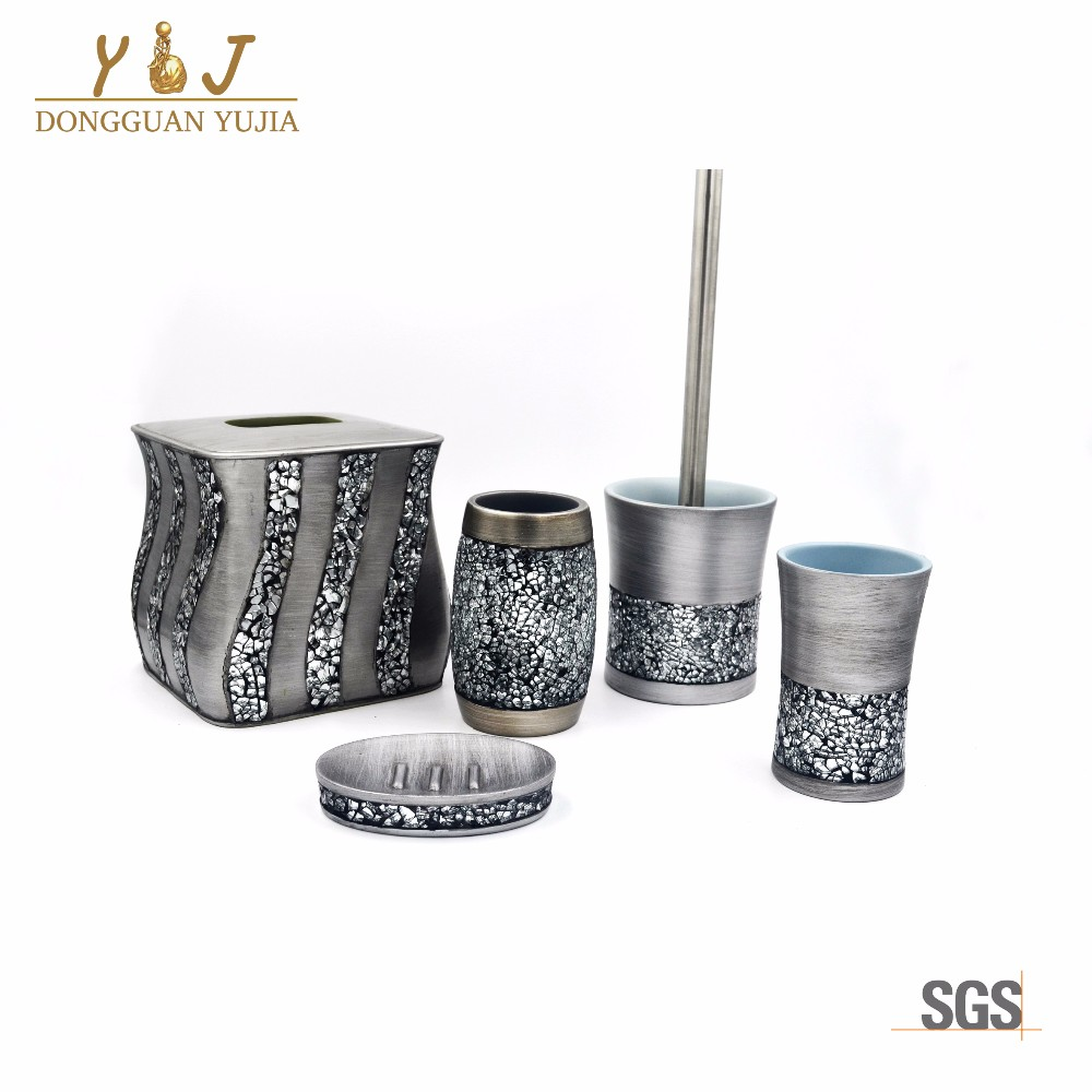 Luxury Mosaic glass Sinatra silver 6 pcs bathroom accessories set