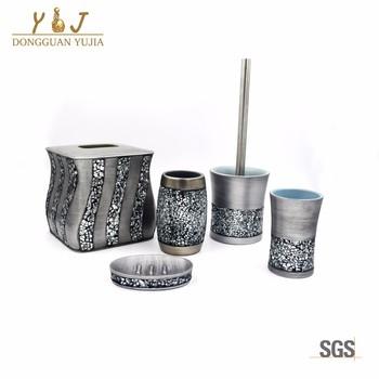 Luxe Mozaïek Glas Sinatra Zilver 6 Stks Badkamer Accessoires Set ...
