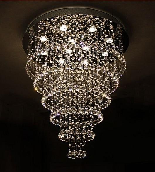 Round Ceiling Flush Mount Modern Crystal Design Chandelier ...