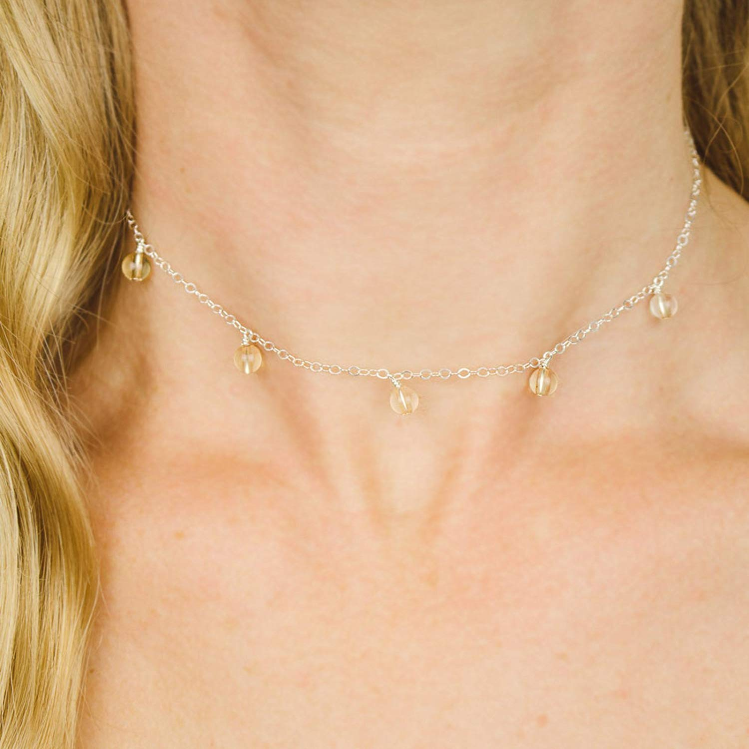 Citrine Beaded Chain Choker Necklace in Sterling Silver November Birthstone