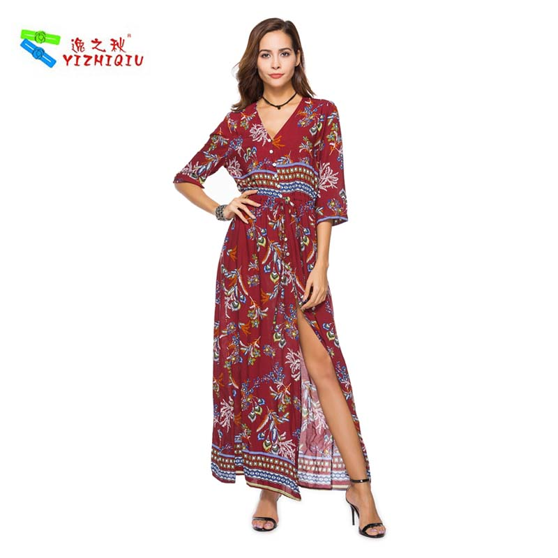 YIZHIQIU Printed Flower Cotton Long Big Slit Dress