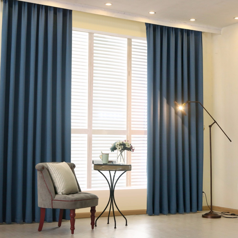 Modern cheap simple solid design thick blackout curtains for the living room