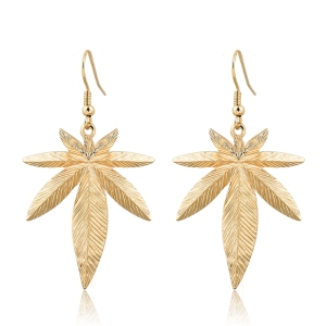 hot sale wholesale cheap dangl big leaf alloy earring for girl