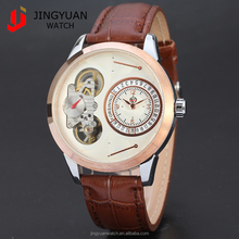 Luxury sapphire mirror men's mechanical watch with genuine leather strap 57