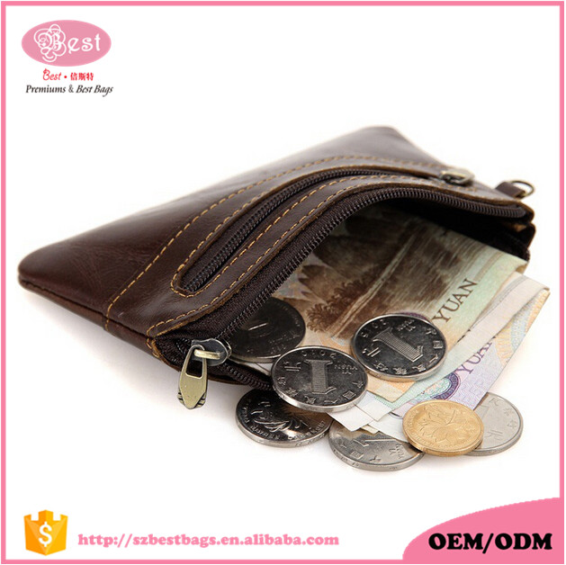 Handmade Vintage Real Leather Coin Storage Zipper Mini Coin <strong>Wallet</strong>