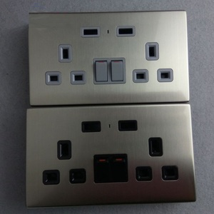 Stainless Steel BS1363 2 Gang 13A Electrical UK Double dual USB outlet Wall Switched Socket BS CE ROHS certificated