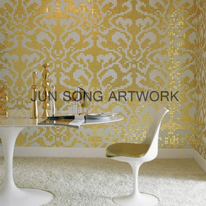 JS MP-DA02 Continuous Pattern Wall Tile Design Golden Mosaic Pattern Gold Leaf Mosaic Tile
