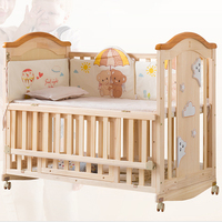 Real solid wood attached new born baby bed/bedside crib cot with bigh storage