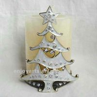Bronze Pearl White Enamel & Crystal Ornated Christmas Tree Design Metal Candle Holder