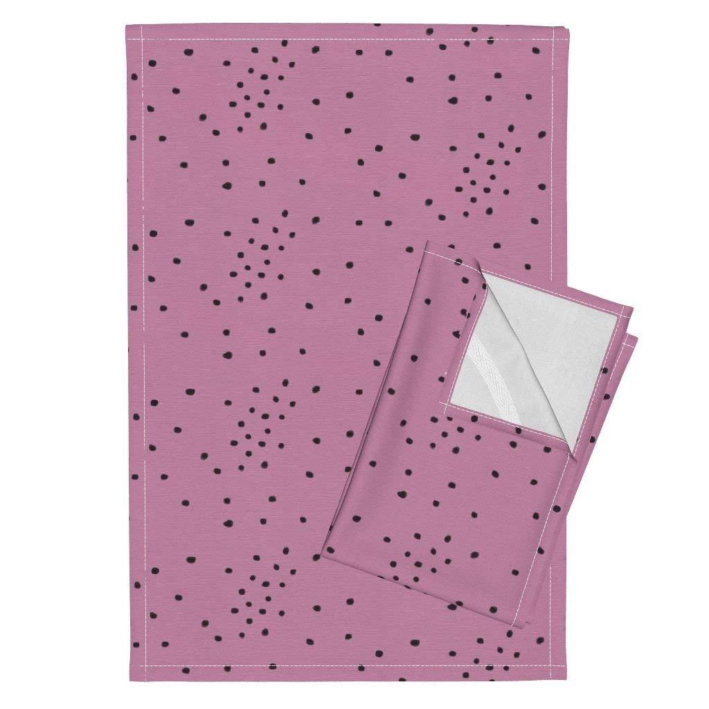 Watercolour Dots Small Dots Confetti Dots Tiny Dots Black Dots Purple Dots Pink Dots Tea Towels Watercolour Dots - Black On by Sunny Afternoon Set of 2 Linen Cotton Tea Towels