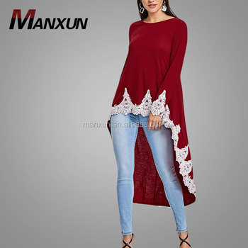 e095e59cf92 High Low Women Tunic Turkish Style Blouse Abaya Islamic Clothing Wholesale  Muslim Women Knit Material Top