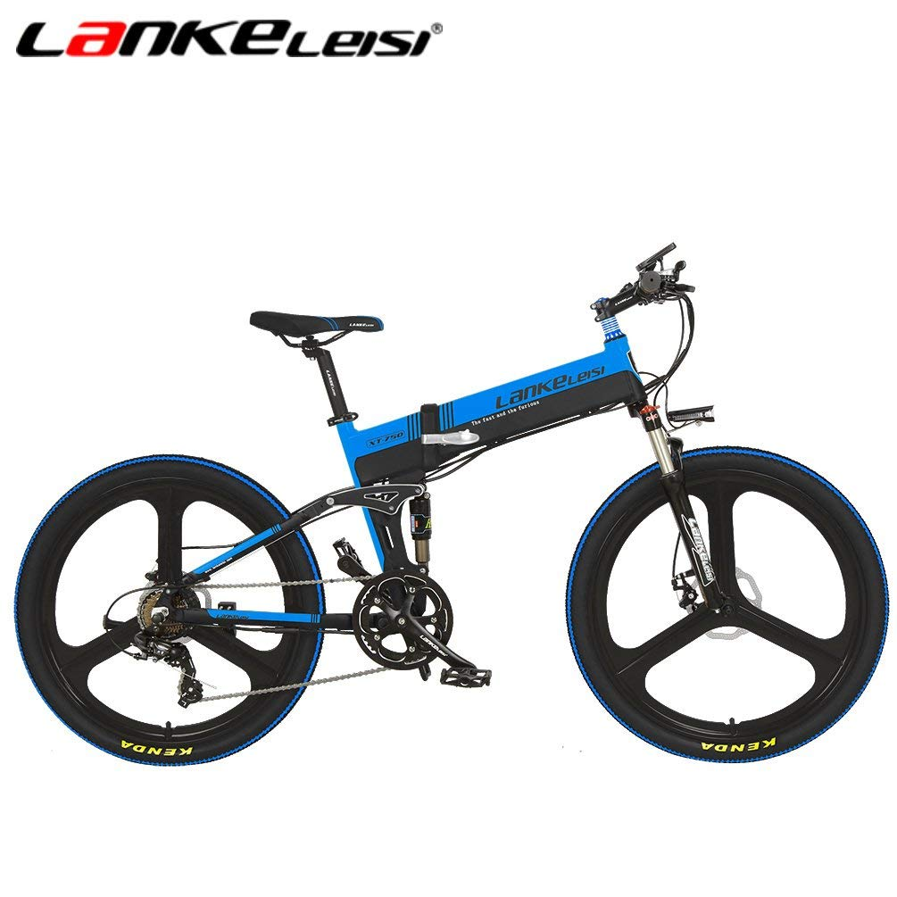 LANKELEISI XT750JY-26 Inch Folding Ebike 48V Suspension 5 Gear 7 Speed Lithium E-bike Mountain-Electric Bicycle Motor 240Watt