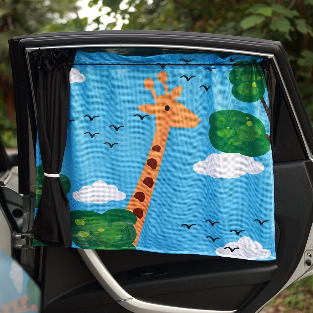 Double-layered Car Window Shade (2 Pack),Window Curtains,Universal Blackout Curtains with Liner for Vehicles, Kids Curtains,Car Sunshade,windshield sunshade,Car Curtains(Girafe-26 by 20 Inches)