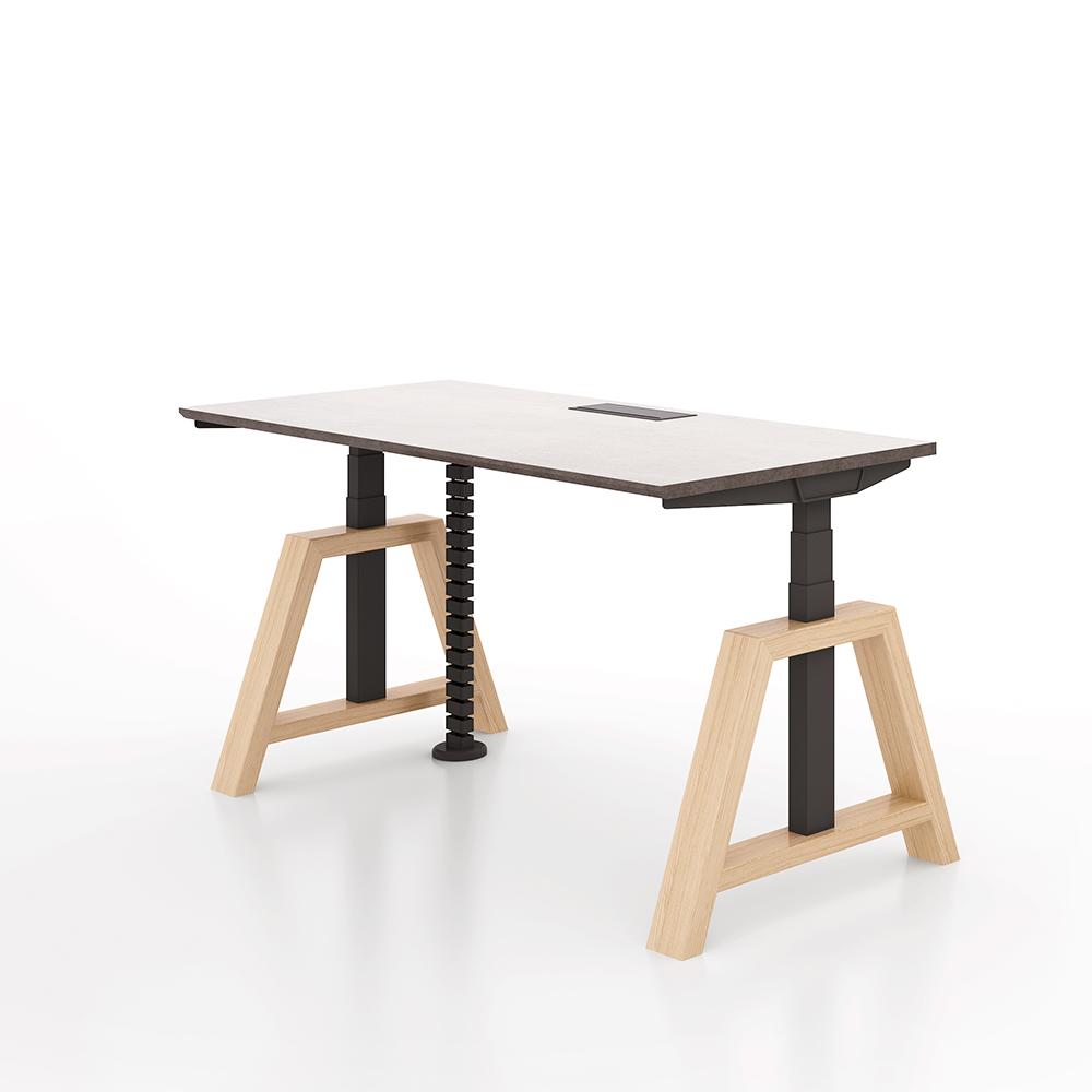 Wooden Frame Stand Up Desk Adjustable Height Jiecang Desk Buy