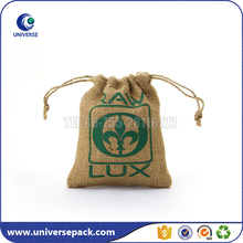 2017 Drawstring Small Jute Gunny Pouch Bag With Green Logo