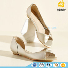 Pu/Satin Ladies Simple Casual Flat Wedding Shoes Customized Women Flat Sandals 2017